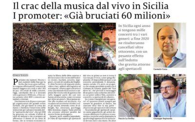 La Sicilia 26.04.20 > Il crac della musica dal vivo in Sicilia: l'appello dei promoter siciliani